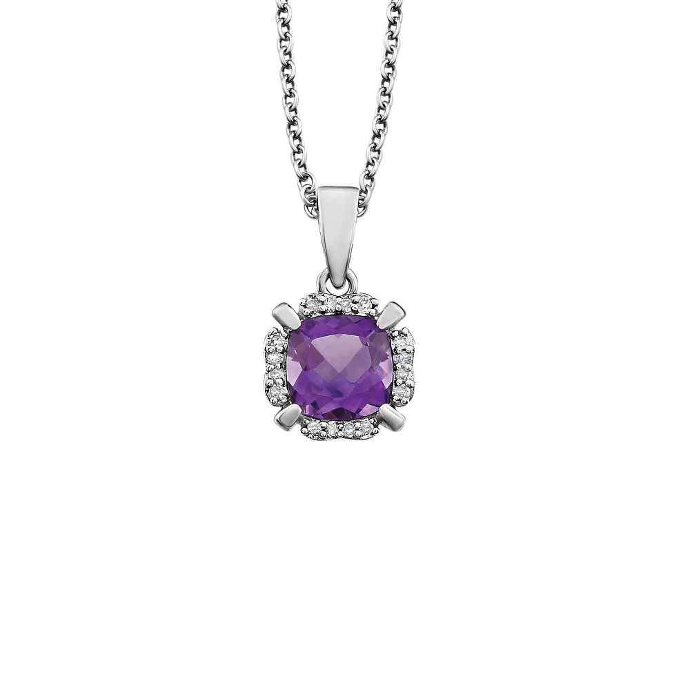 Cushion Amethyst & Diamond Necklace in 14k White Gold, 18 Inch by Black Bow Jewelry Company