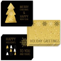 24 Pack Holiday Greeting Cards, Assortment of 3 Elegant Gold Christmas Cards Set with Envelopes Included, Season's Greetings with 24 Lovely Mixed Variety Cards, Excellent Value by Digibuddha VHA0027B