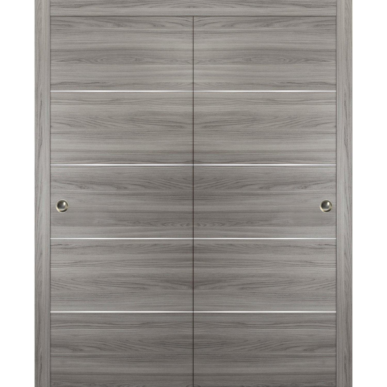 Closet Sliding Doors 48 X 80 Planum 0020 Ginger Ash Top Mount Sturdy Heave Hardware Set Kit Bedroom Wardrobe Solid Wooden Flush Panel Door Walmart Com Walmart Com