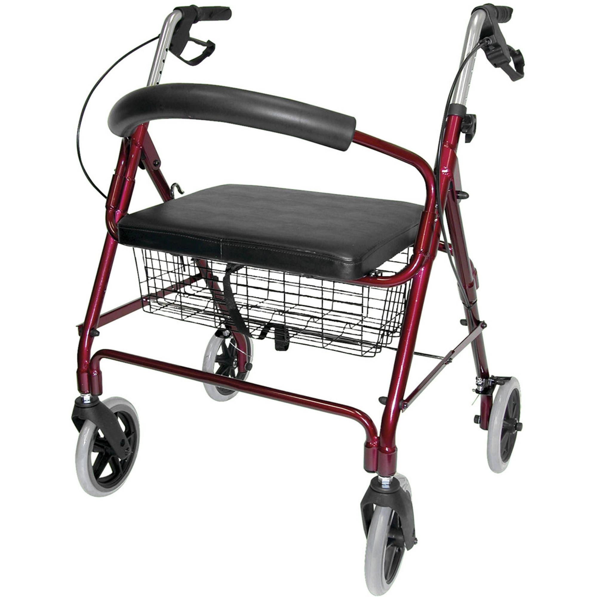 DMI Lightweight Extra-wide Aluminum Rollator Walker with Seat, Burgundy, Folding