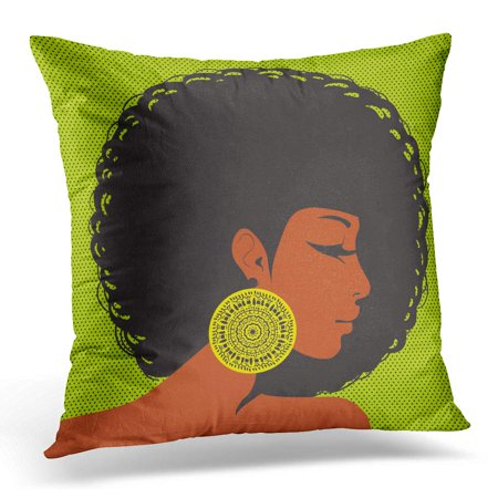 ECCOT Brown Afro Profile Silhouette American Woman Hair in The Style Disco Ear Ethnic 1980 Pillowcase Pillow Cover Cushion Case 16x16 inch - Disco Hair Style