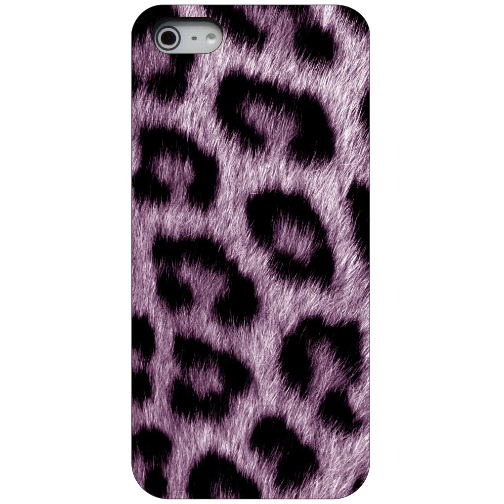 CUSTOM Black Hard Plastic Snap-On Case for Apple iPhone 5 / 5S / SE - Purple Black Leopard Fur Skin