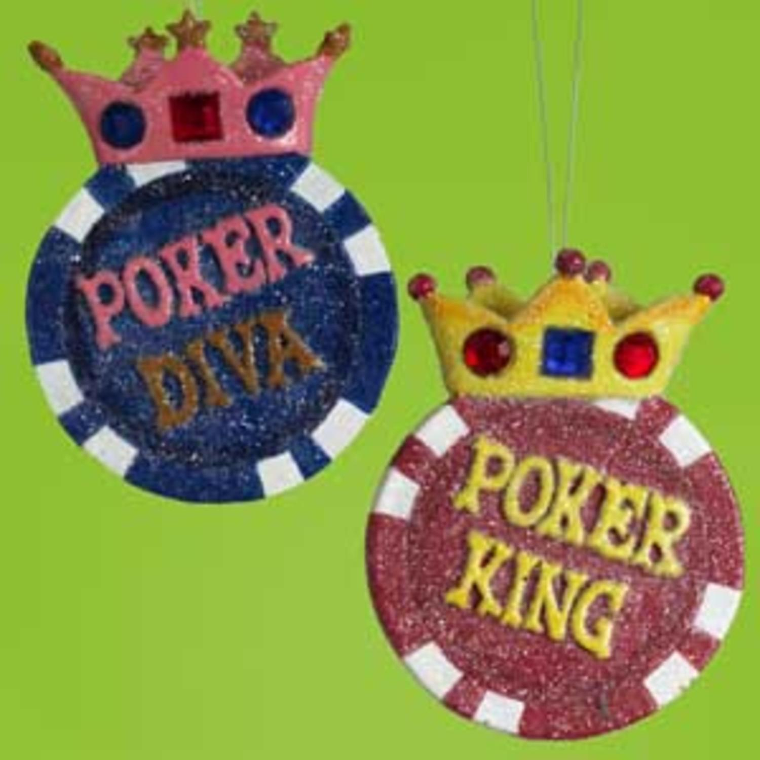 Glittery Poker King With Gem Crown Christmas Ornament