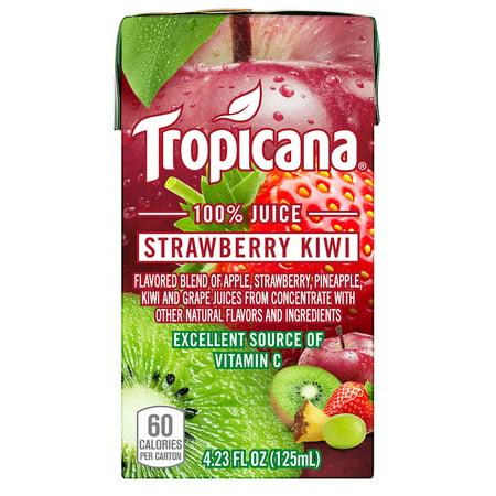 Kiwi Juice - Tropicana 100% Juice Box, Kiwi Strawberry, 4.23 Fl Oz, 44 Count