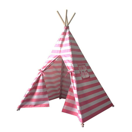 Teepee Tent for Kids Portable Children Play Tent Fort Canvas Canopy Playhouse with Carry Bag for Indoor Outdoor (Kids Outdoor Forts And Playhouses)