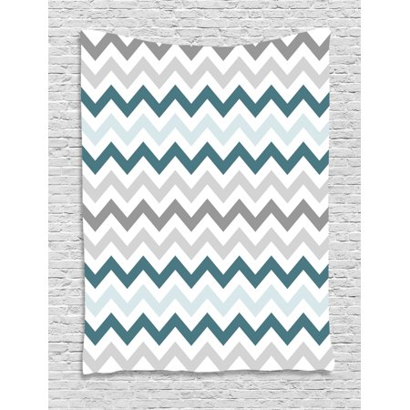 Chevron Tapestry, Geometric Angled Lines Pattern in Pastel Colors Nautical Illustration, Wall Hanging for Bedroom Living Room Dorm Decor, Teal Pale Blue and Grey, by Ambesonne ()