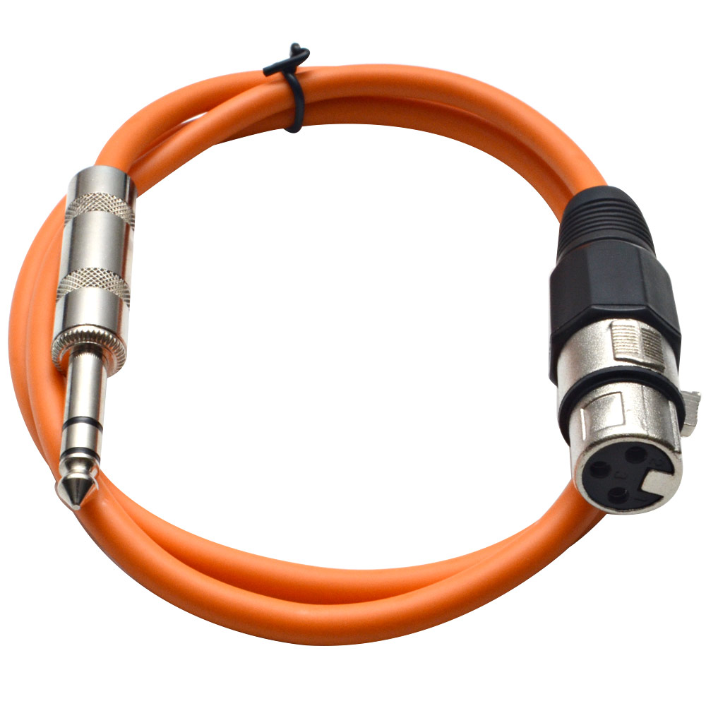 "Seismic Audio  Orange 1/4"" TRS XLR Female 2' Patch Cable Orange - SATRXL-F2Orange"