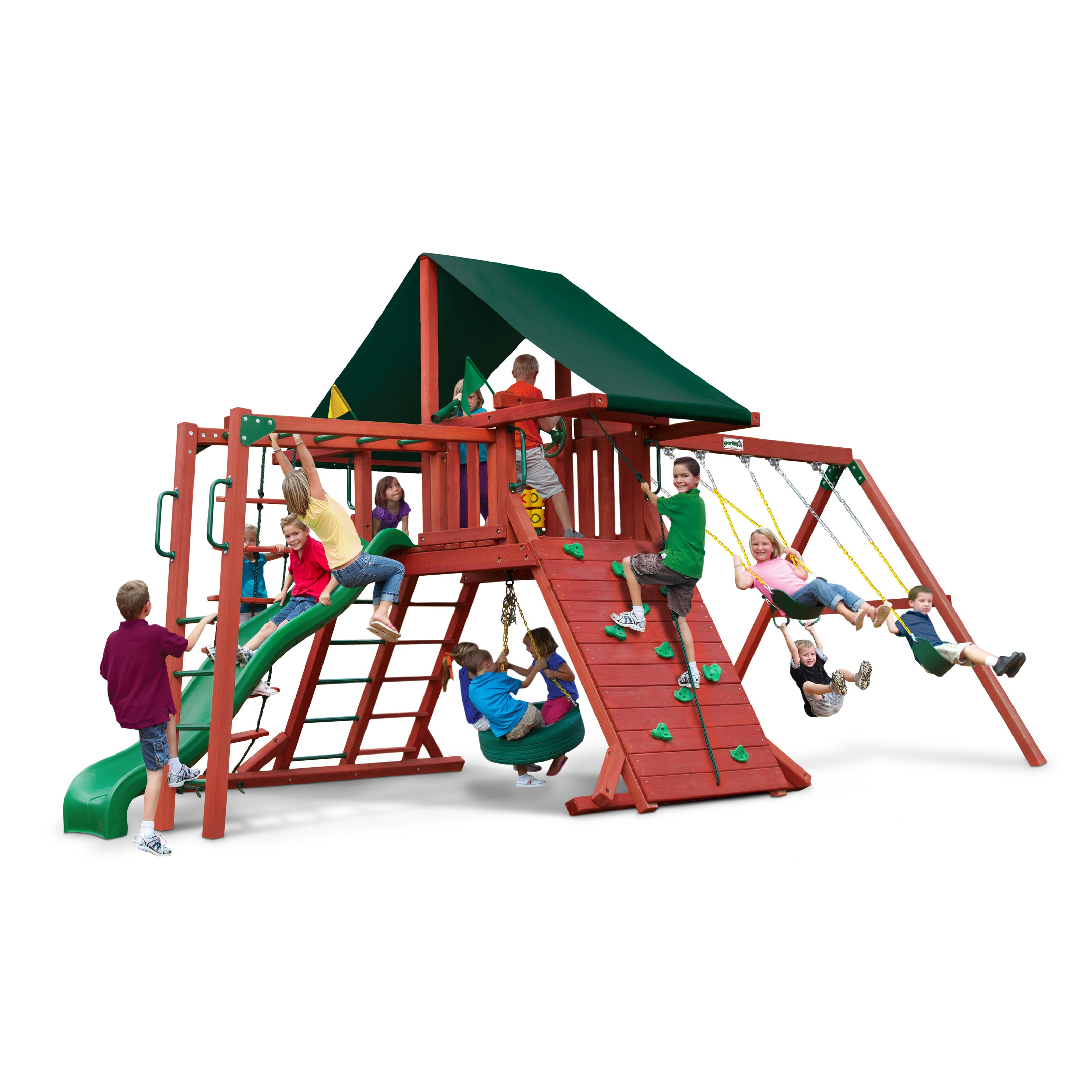 Gorilla Playsets Sun Climber II Wood Swing Set with Canvas Green Canopy