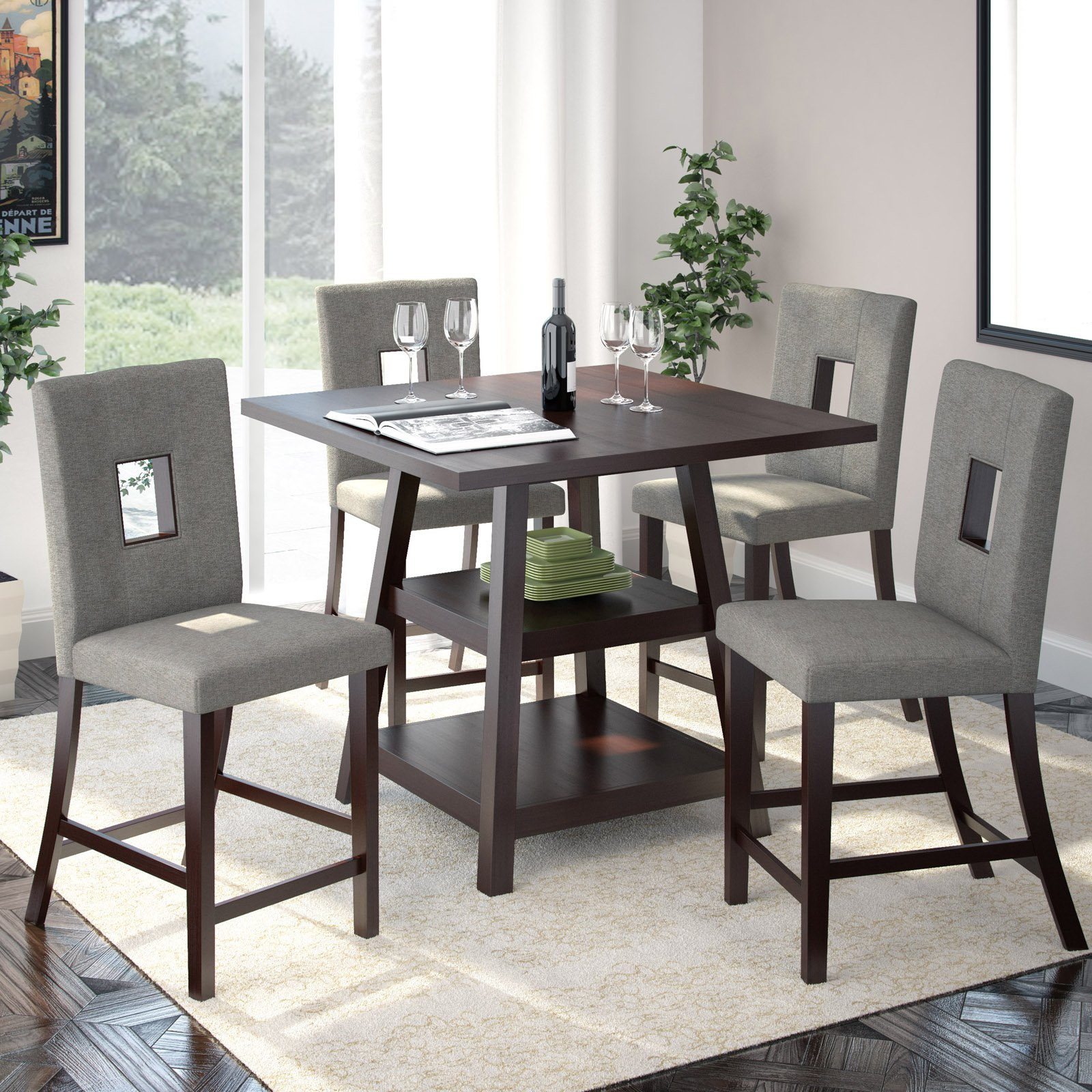 "CorLiving Bistro 5pc 36"" Counter Height Rich Cappuccino Dining Set, Pewter Grey"