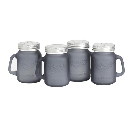 Mason Craft and More 4 Ounce Round Glass Salt and Pepper with Handle and Silver Metal Lid, Transparent Smoke, Set of 4 - Glass With Lid Salt And Pepper Set
