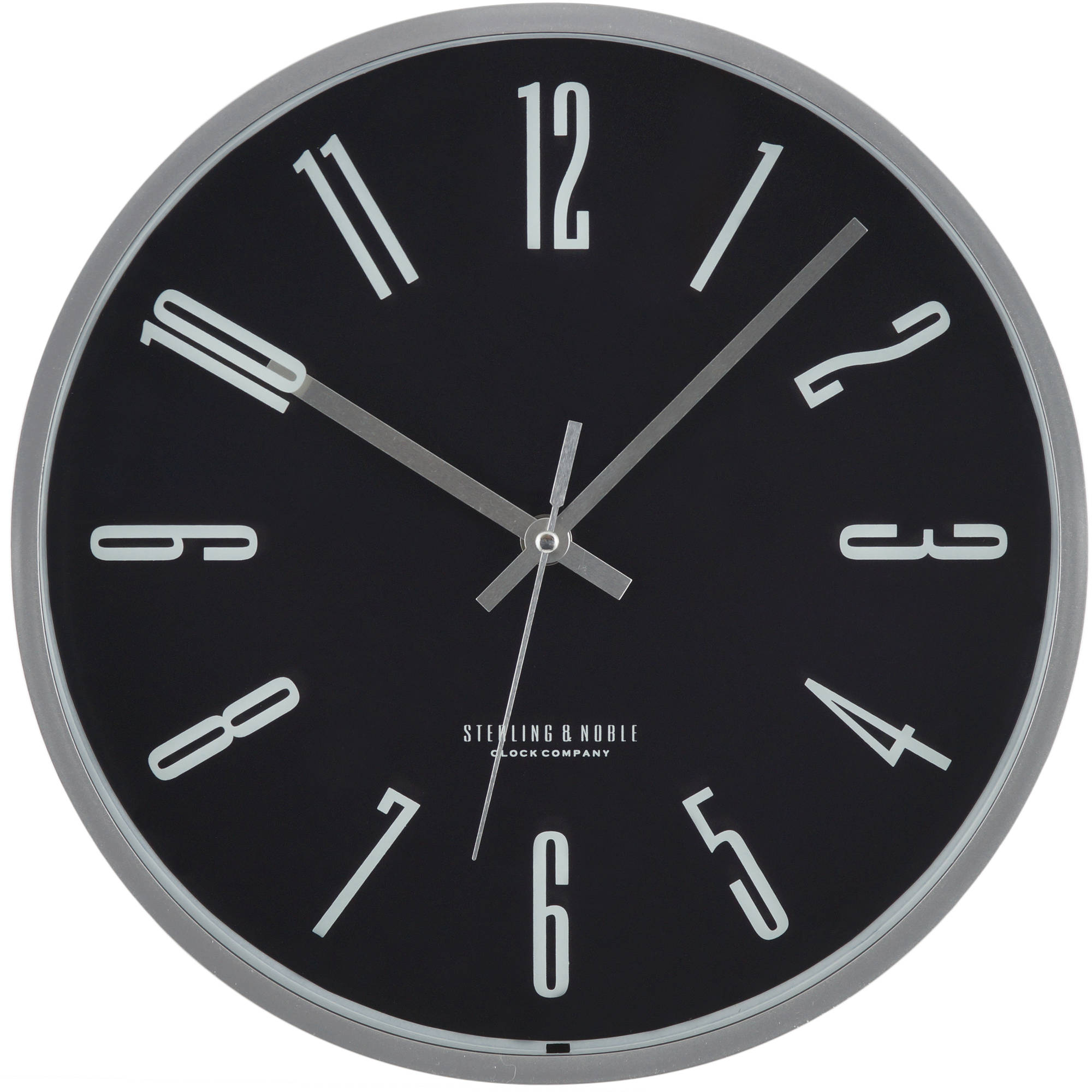 Mainstays Silver and Black Wall Clock
