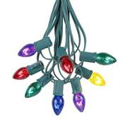 Novelty Lights C7 Twinkle Christmas Lights Set - Indoor/Outdoor Christmas Light String - Christmas Tree Lights - Hanging Christmas Lights - Outdoor Patio String Lights - Green Wire - 25 Foot