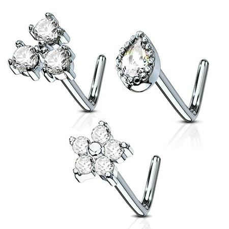 MoBody 3 Pieces L-Shaped Nose Ring Stud Set 20G Jeweled Surgical Steel Nostril Body Piercing Value Pack (Style 3)