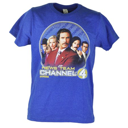 Anchorman News Team Channel 4 Distressed Graphic Heather Blue Tshirt Tee Small
