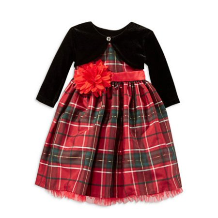 Blueberi Infant  Toddler Girl Red Plaid Flower Party Dress Holiday Capelet