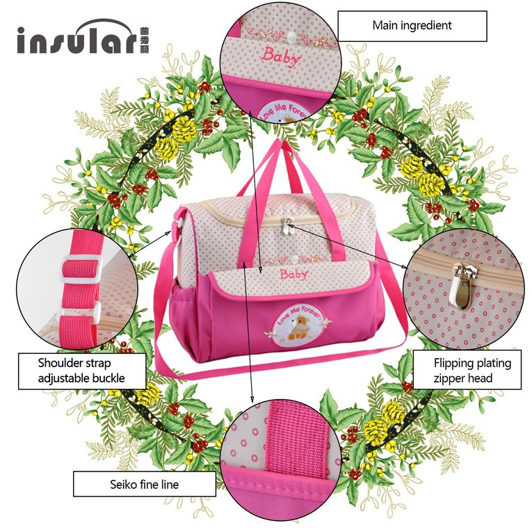 INSULAR Fashion Cartoon Baby Stroller Bag Mother Travel Baby Diaper Bag Nappy Bag Nylon Large Capacity Bag 8186
