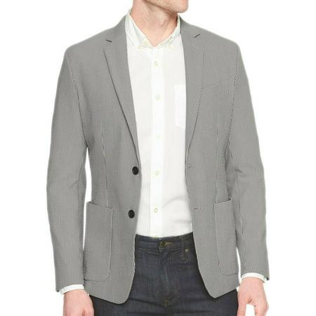 New  Banana Republic Mens Gray Striped Slim Fit Seersucker Blazer Jacket 38S 0978-1 (Seersucker Blazer Jacket)