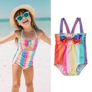 Cute Kids Baby Girls Striped Bow Swimsuit Swimwear Bathing Suit Beachwear Bikini