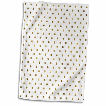 3dRose Print of Gold Bling Polka Dots - Towel, 15 by 22-inch