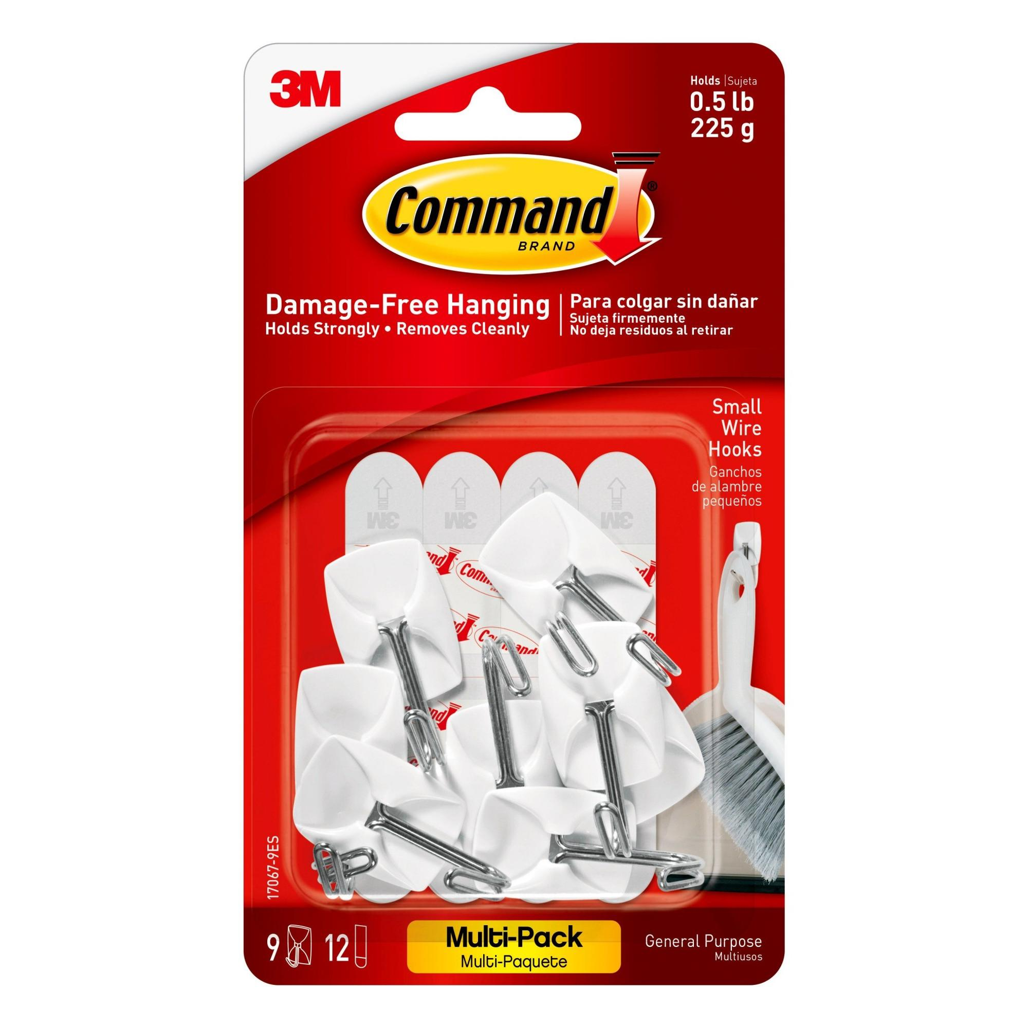 Command Wire Hooks Value Pack, White, Small, 9 Hooks, 12 Strips