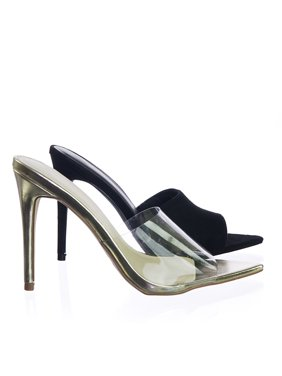 8e455b7f6 Product Image Exception01 by Anne Michelle, Pointed Toe Mule Sandal Slipper  w Clear Transparent Lucite Strap