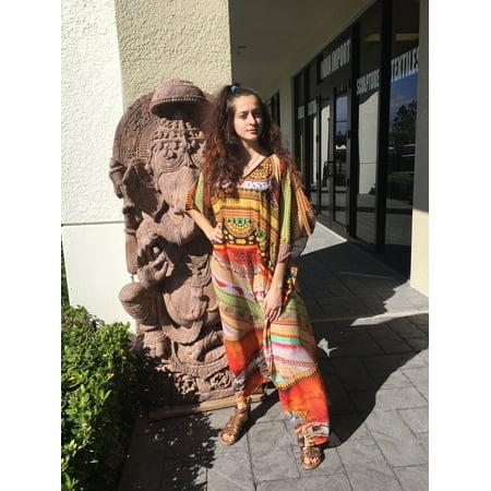 d094399e6e Mogul Interior - Mogul Womens Colorful Maxi Caftan Vibrant Shades Digital  Print V-Neck Resort Wear Bikini Beach Cover Up Evening Dress ONE SIZE -  Walmart. ...