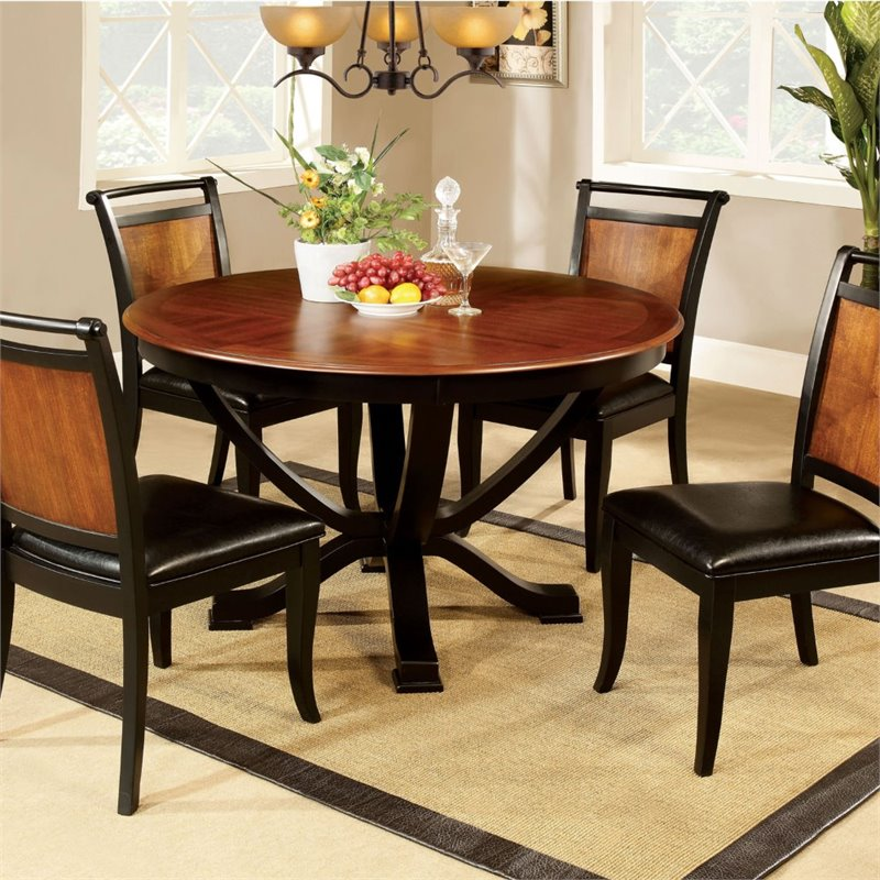 Furniture of America Balon Round Dining Table in Acacia and black by Furniture of America