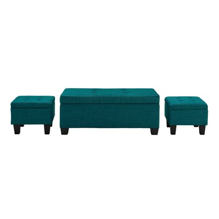 Picket House Everett 1pk Storage Ottoman in Teal