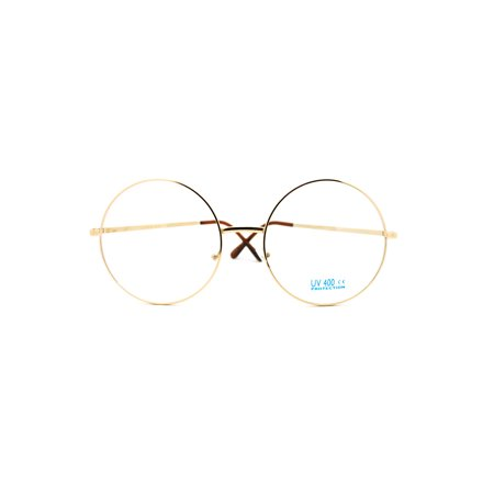 SA106 Oversize Large Hippie Round Circle Len Clear Lens Glasses Gold - Oversized Glasses