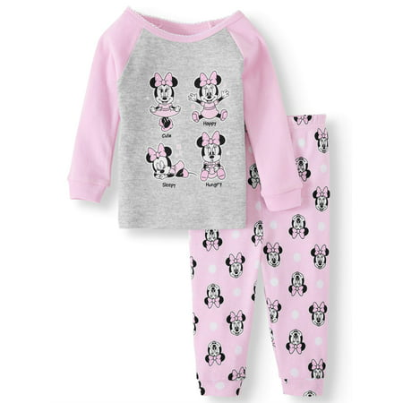 Minnie Mouse Baby Girl Long Sleeve Cotton Snug Fit Pajamas, 2-Piece Set ()