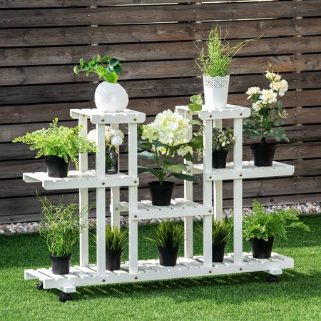 Costway 4 Tier Rolling Flower Rack Wood Plant Stand
