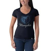 Memphis Grizzlies '47 Brand Women's Current Logo Flanker V-Neck T-Shirt - Navy Blue