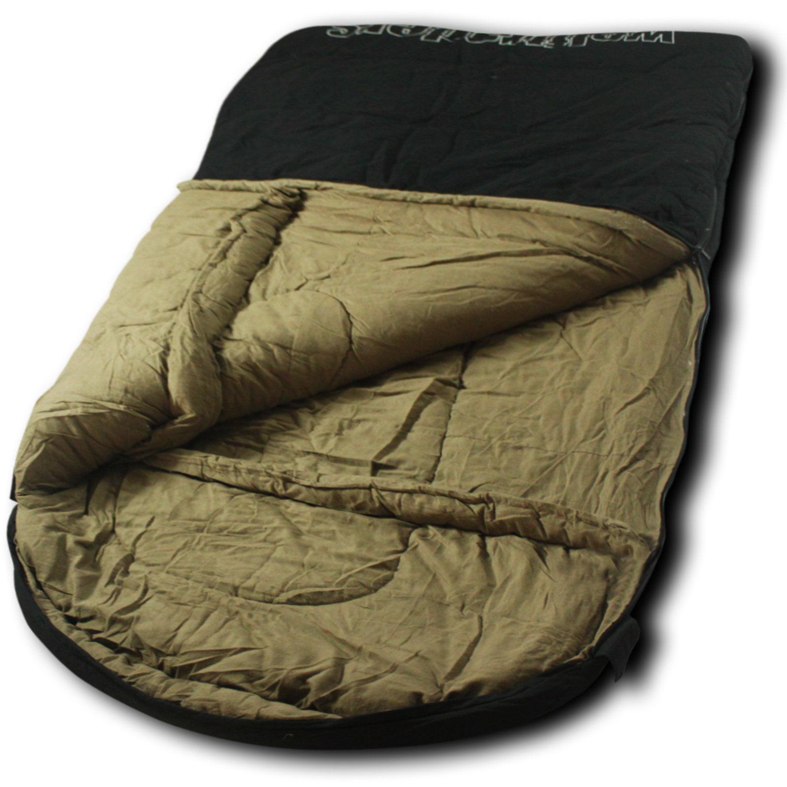 Wolftraders TwoWolves +0 Degree 2-Person Premium Canvas Sleeping Bag, Black/Tan