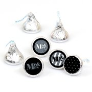Mr. & Mrs. - Silver - Wedding Round Candy Stickers - Labels Fit Hershey's Kisses (1 sheet of 108)