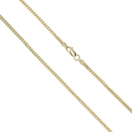 - 14k Yellow Gold Solid Franco Wheat Rope Chain 1mm Necklace 22