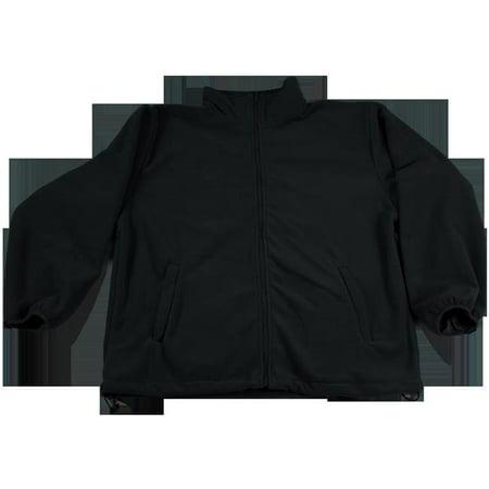 Petra Roc BSW-S1-5X Black Fleece Work Jacket 2 Zipped Slash Pockets Elastic Cuff Shock Cord Adjustment At The Bottom, (Zip Bottom)