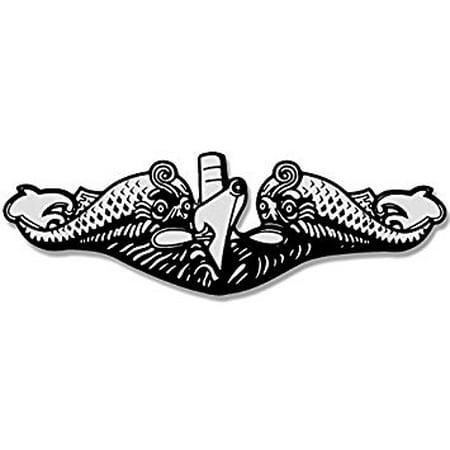 Submarine Warfare Dolphins SHAPED Sticker Decal (navy logo insignia sub naval) Size: 2.5 x 7 - Navy Submarine Dolphins