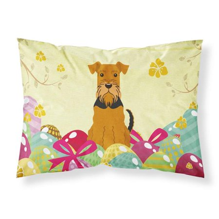 Carolines Treasures BB6041PILLOWCASE Easter Eggs Airedale Fabric Standard Pillowcase - image 1 of 1
