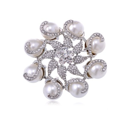 Wreath Fashion Pin (Silver Tone Crystal Rhinestone Faux Pearl Flower Swirl Wreath Fashion Pin Brooch )