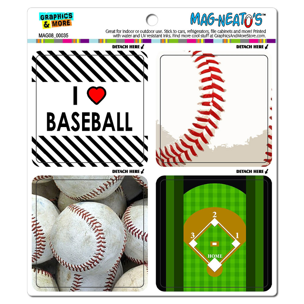 Baseball Player Fan Love MAG-NEATO'S(TM) Car/Refrigerator Magnet Set