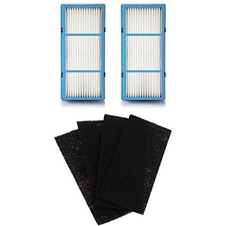 2 Replacement HEPA Filter and 4 Charcoal Booster Pre Filter for Holmes AER1 Total Air Filter, HAPF30AT for Purifier HAP242-NUC Optional Recirculating Charcoal Filter