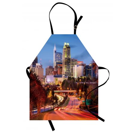 United States Apron Raleigh North Carolina USA Express Way Business District Building Skyscrapers, Unisex Kitchen Bib Apron with Adjustable Neck for Cooking Baking Gardening, Multicolor, by Ambesonne (Halloween Express North Carolina)