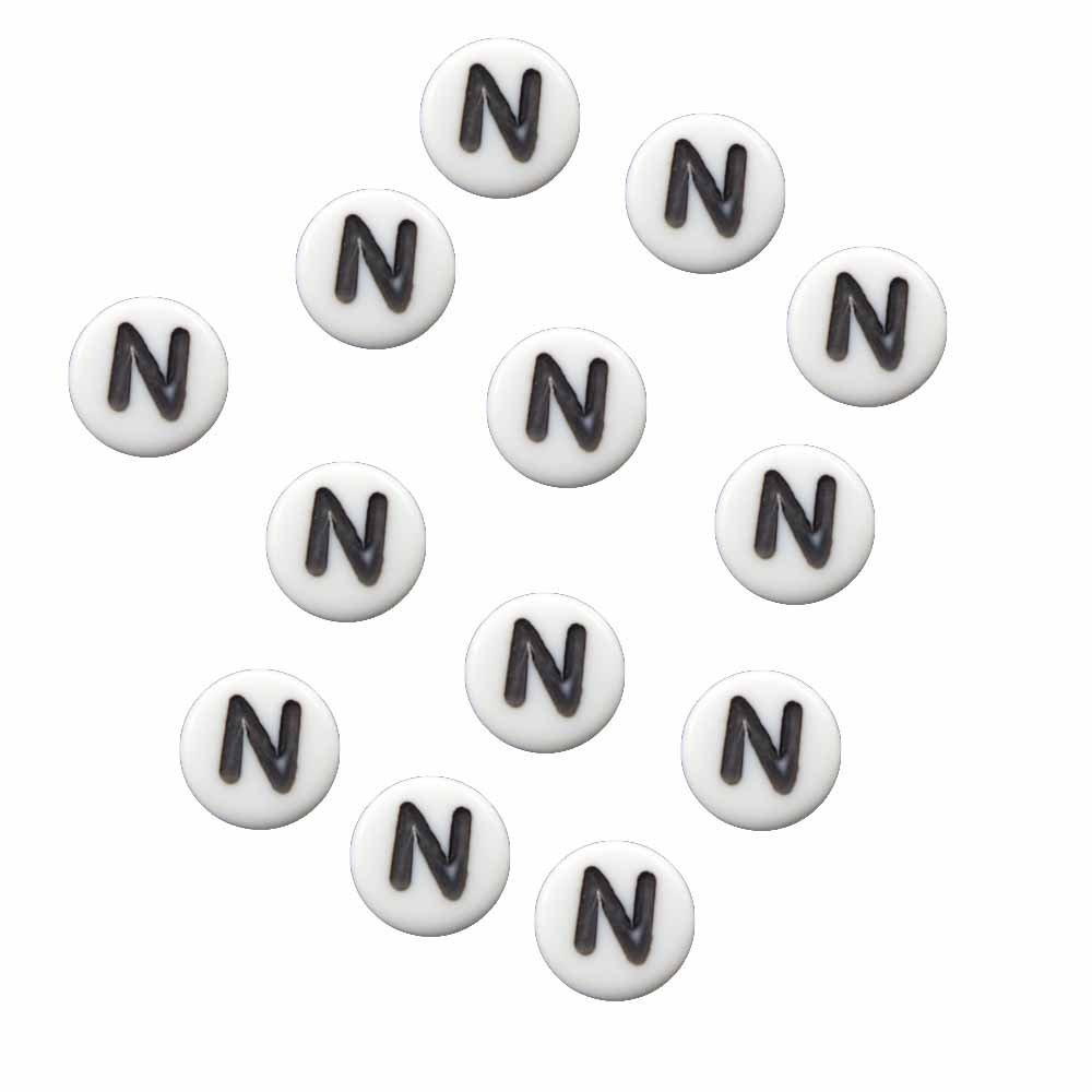"100 White Acrylic Alphabet Letter ""N"" Coin Spacer, Loose Beads, 7x4mm Round"