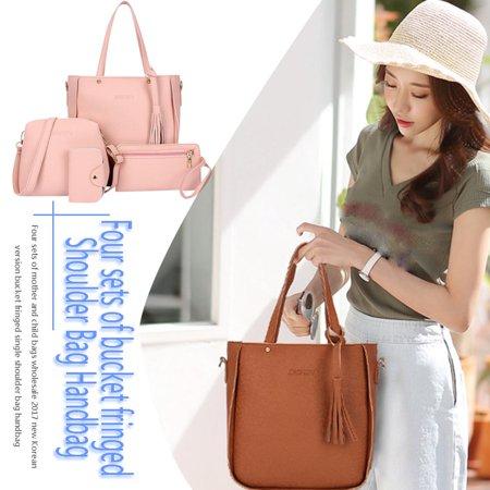 Tassel 4PCS Women Simple Single Shoulder Bag Soft PU Leather Crossbody Bag - image 8 of 8