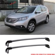 Compatible with 12-16 Honda CRV OE Factory Style Roof Rack Cross Bar Black Polish 2Pc