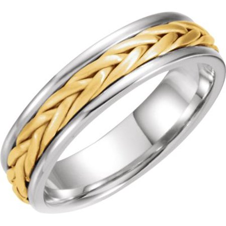- 14kt White & Yellow  5mm Comfort-Fit Hand-Woven Band Size 10 50631 / 14Kt White/Yellow / 10 / 05.00 Mm / Hand Woven Band