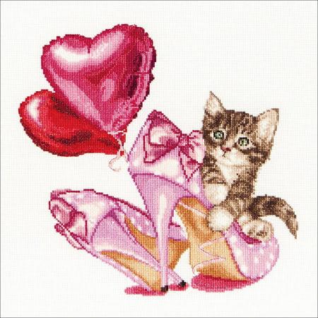 Valentine's Kitten On Aida Counted Cross-Stitch Kit, 12.25