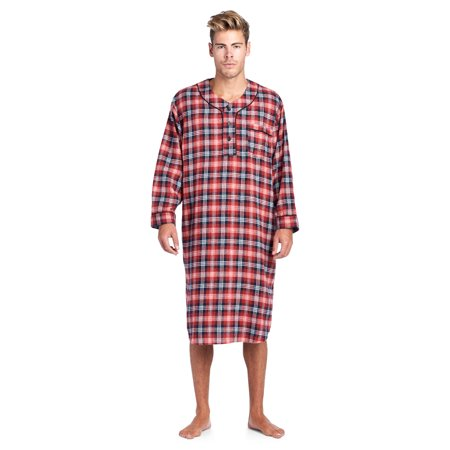 Ashford   Brooks - Ashford   Brooks Mens Flannel Plaid Long Sleep Shirt  Henley Nightshirt - Burgundy Navy Ivory - X-Large - Walmart.com 63a8a84dd
