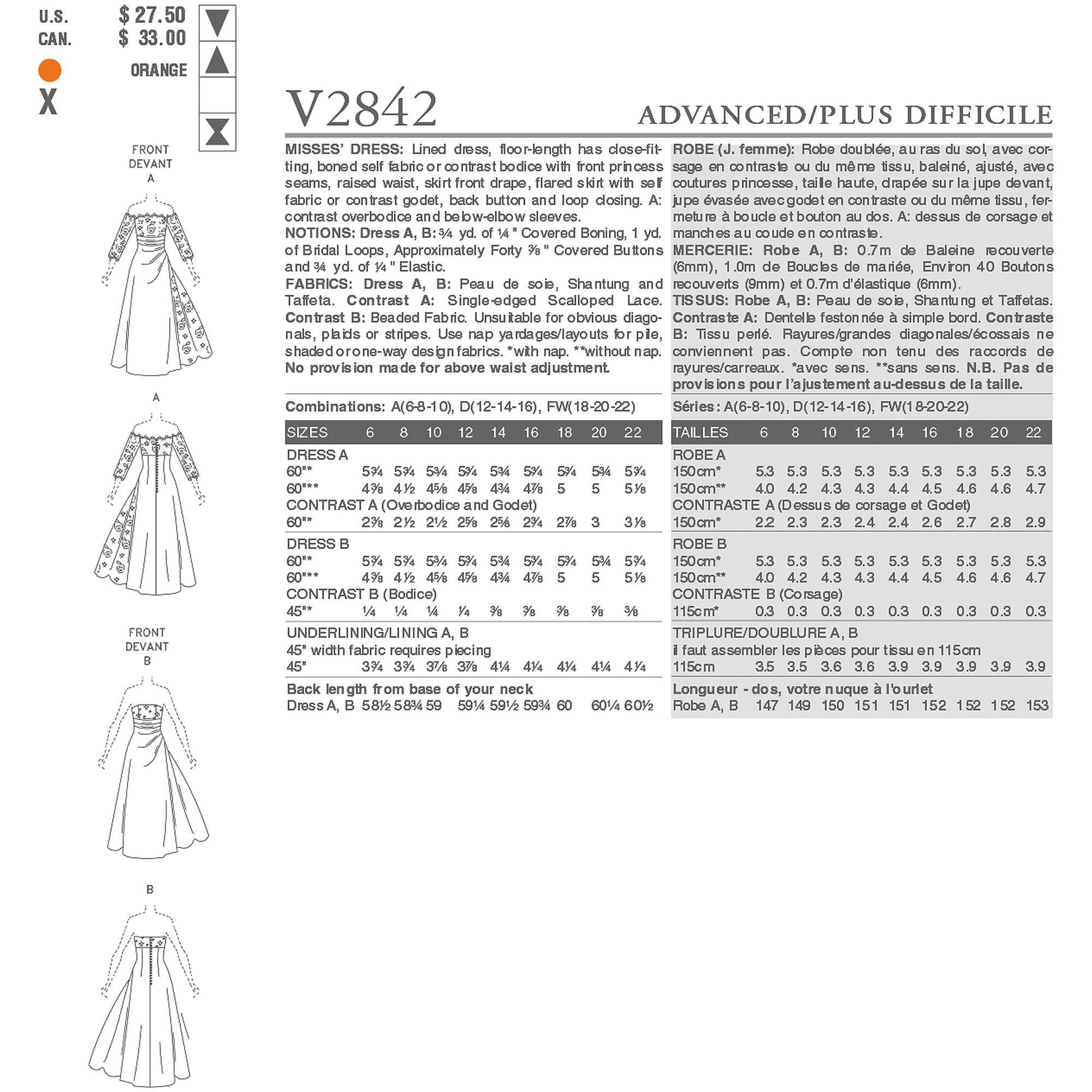 Vogue Pattern Misses' Dress, FW (18, 20, 22)