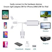 Lightning to USB Cable 3 in 1 HDMI Cable Adapter, 1080P USB/Type-C to HDMI Adapter, Mirror Mobile Phone Screen to TV/Projector/Monitor Compatible with iphone XR/XS/8, and Android Devices, S10226